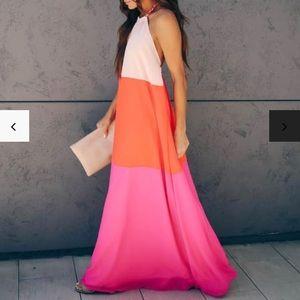 Vici Colorblock Halter Maxi Dress (M) - NWT